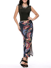 Round-Neck-Hollow-Out-Crop-Top-And-Printed-Slit-Pencil-Maxi-Skirt