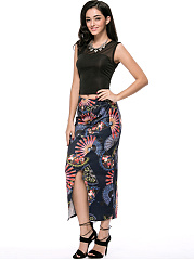 Round Neck Hollow Out Crop Top And Printed Slit Pencil Maxi Skirt