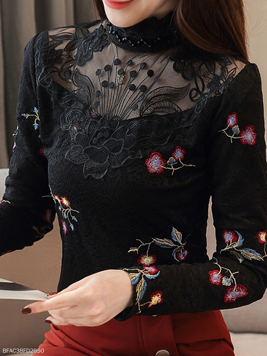 Autumn Winter  Lace Polyester  Women  High Neck  See-Through  Embroidery Blouses