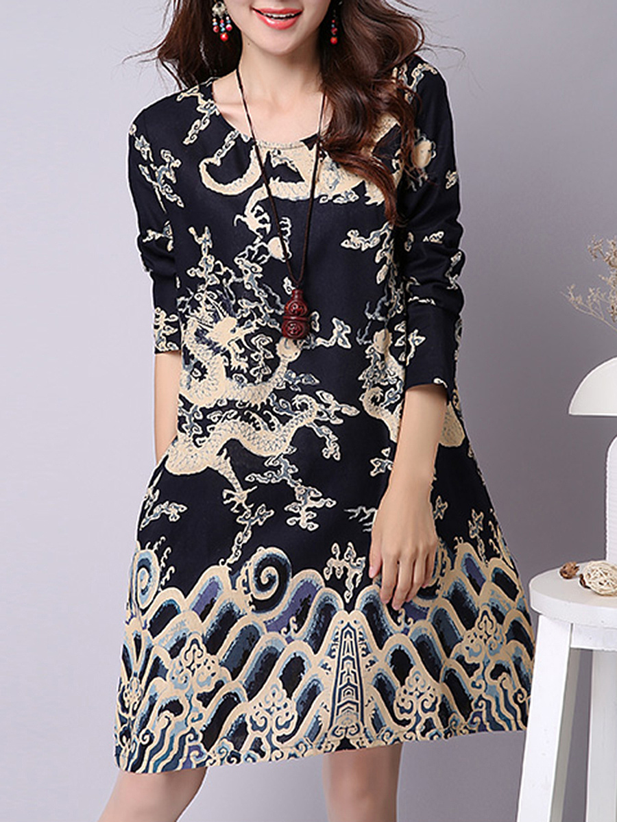 Round Neck Abstract Print Fascinating Shift Dress