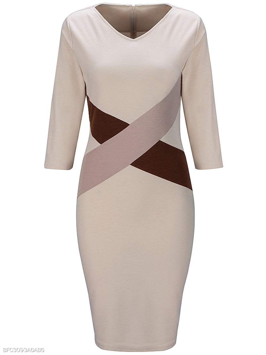 V-Neck Color Block Bodycon Dress