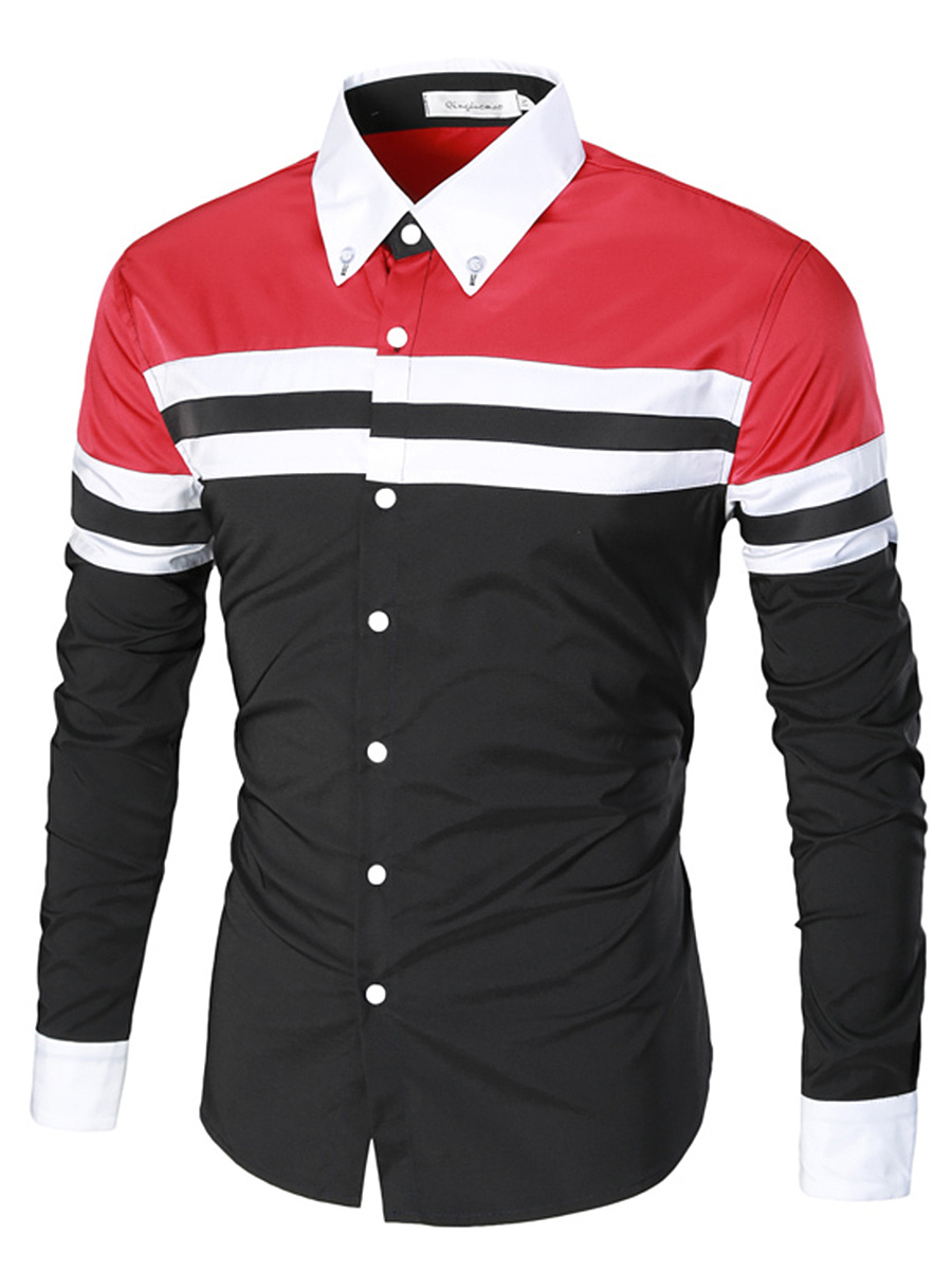 Color Block Striped Button Down Collar Men Shirts