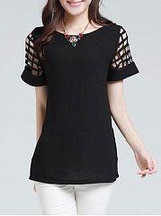 Summer  Polyester  Women  Boat Neck  Hollow Out Plain  Short Sleeve Blouses
