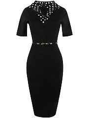Fold-Over Collar Patchwork Belt Polka Dot Cotton Bodycon Dress
