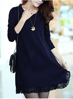 Round Neck  Decorative Lace  Plain  Polyester Shift Dress