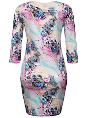 Round Neck Remarkable Floral Printed Bodycon Dress