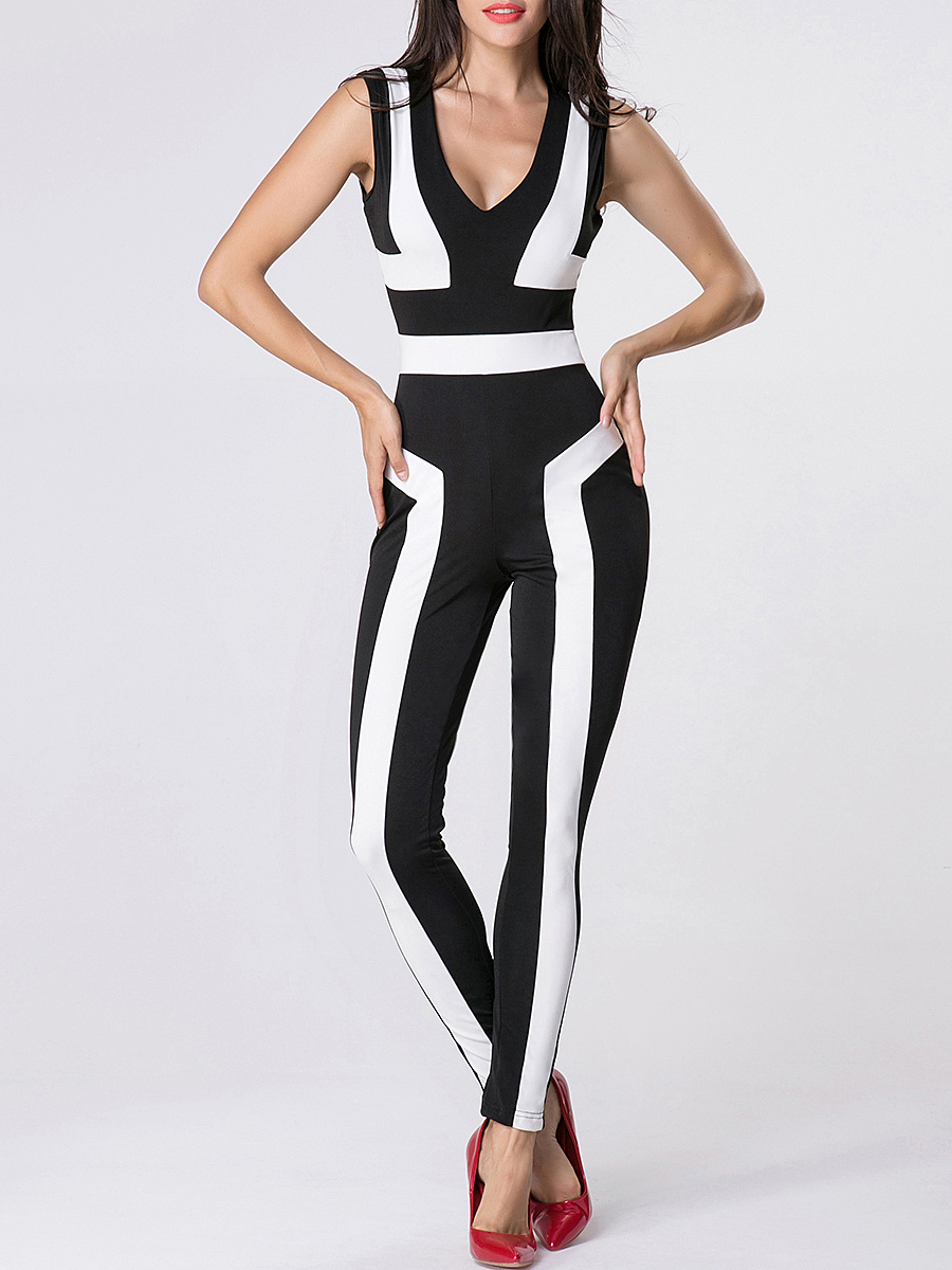Deep V-Neck Color Block Jumpsuit