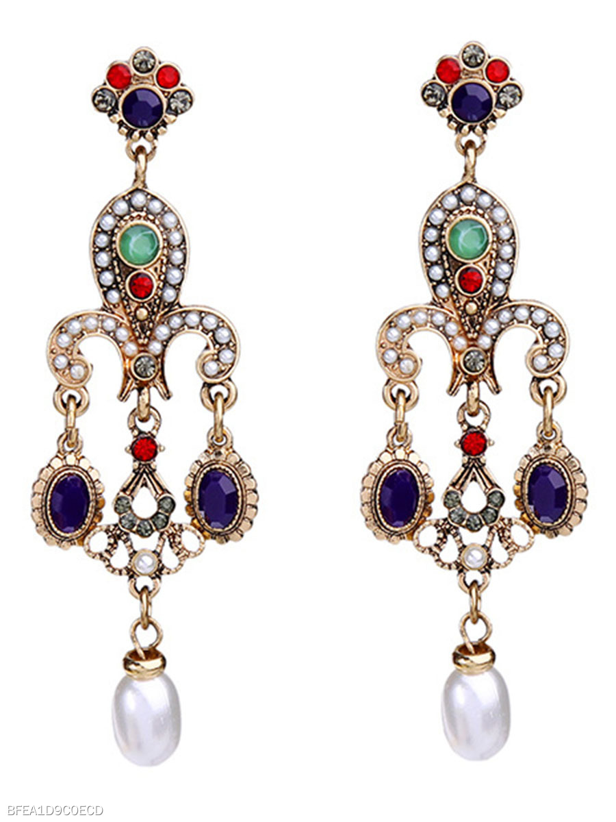 Statement Faux Beads Rhinestone Drop Earrings