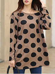 Round Neck  Polka Dot T-Shirts
