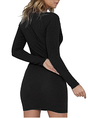Round Neck  Single Breasted Snap Front  Single Button  Plain Bodycon Dress