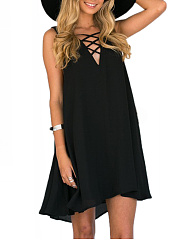 V-Neck  Lace-Up  Plain Shift Dress