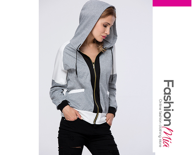 Trendy Patch Pocket  Color Block Hoodie FASHIONMIA