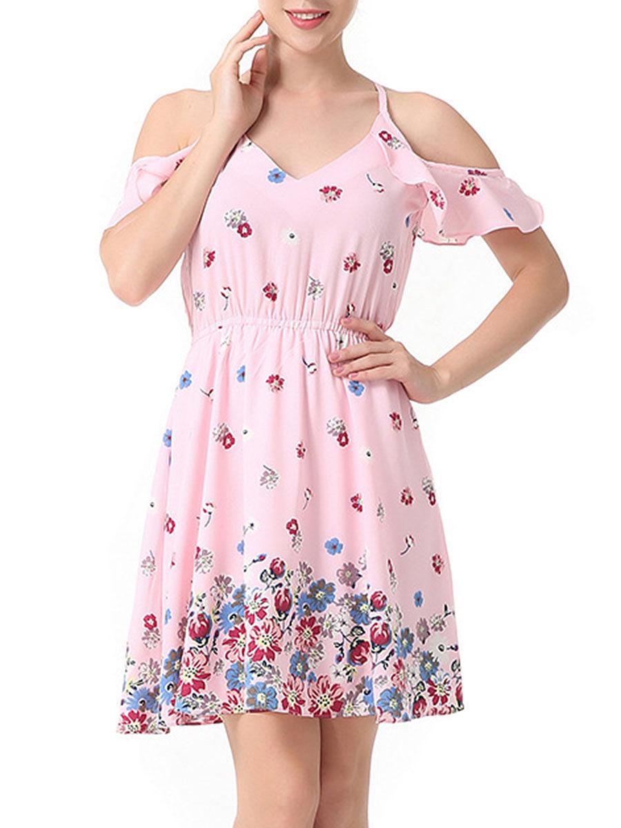 Open Shoulder Elastic Waist Flounce Floral Printed Skater Dress