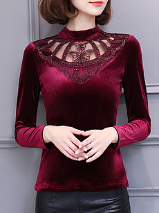 Round  Neck  Patchwork  Elegant  Lace  Long Sleeve  T-Shirt