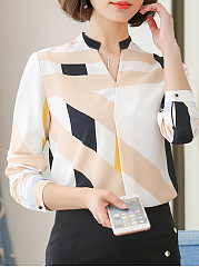 Autumn Spring  Polyester  Women  V-Neck  Geometric  Long Sleeve Blouses