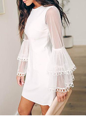Round Neck  See-Through  Lace Plain Bodycon Dress