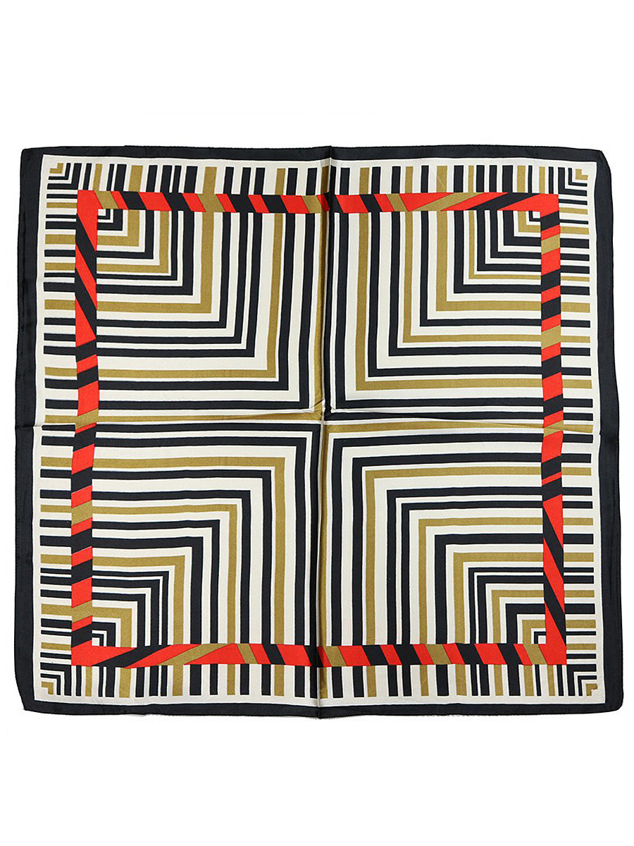 Striped Printed Silk Scarf