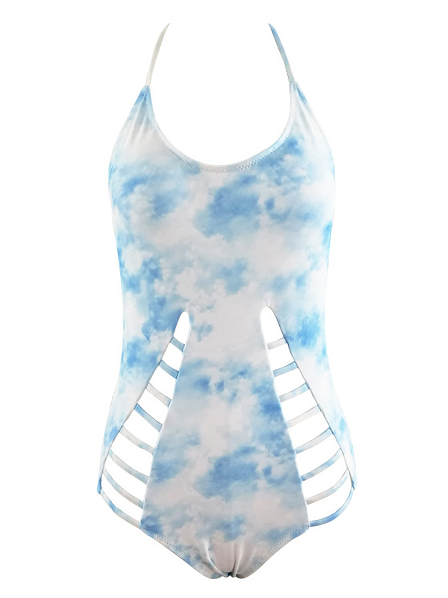 Halter  Hollow Out Tie/Dye One Piece