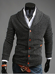 Men Shawl Collar Patch Pocket Single Breasted Cardigan