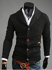 Men-Shawl-Collar-Patch-Pocket-Single-Breasted-Cardigan