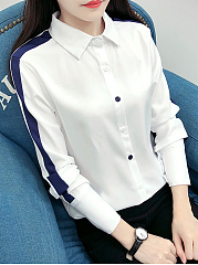 Autumn Spring  Cotton  Women  Turn Down Collar  Contrast Piping Contrast Stitching  Plain  Long Sleeve Blouses