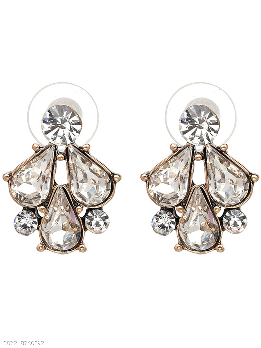 Courtly Imitated Crystal Stud Earrings