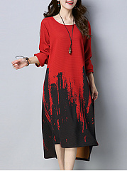 Round Neck  Side Slit  Print Maxi Dress