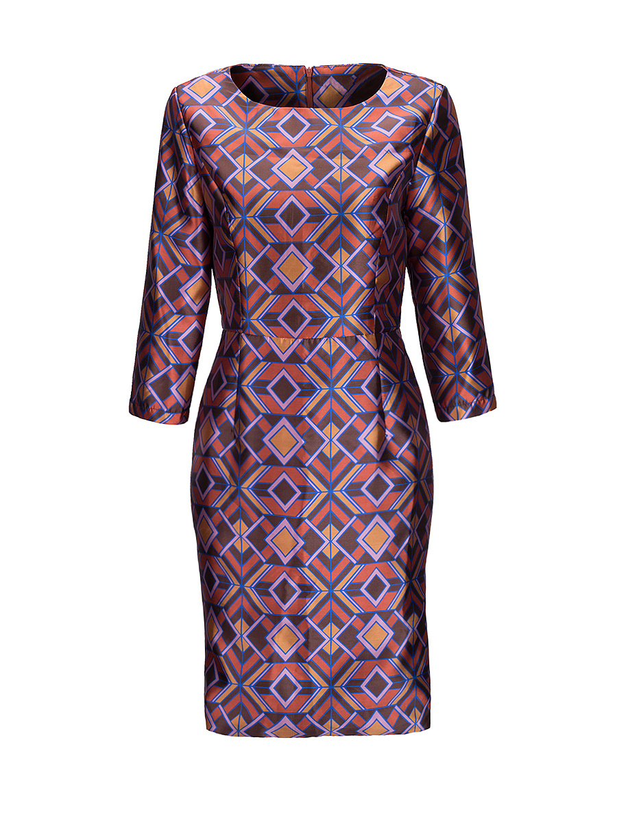 Round Neck Geometric Printed Bodycon Dress