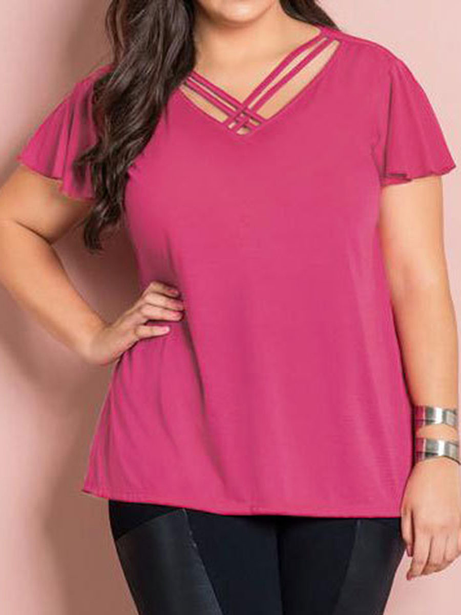 Asymmetric Neck  Plain  Short Sleeve Plus Size Tops