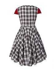 Sweet Heart  Color Block Plaid Plus Size Flared Dress