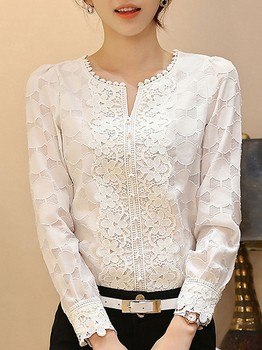 V-Neck  Decorative Button  Embroidery Blouses