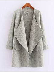 Fold-Over Collar  Flap Pocket  Plain  Long Sleeve Coats