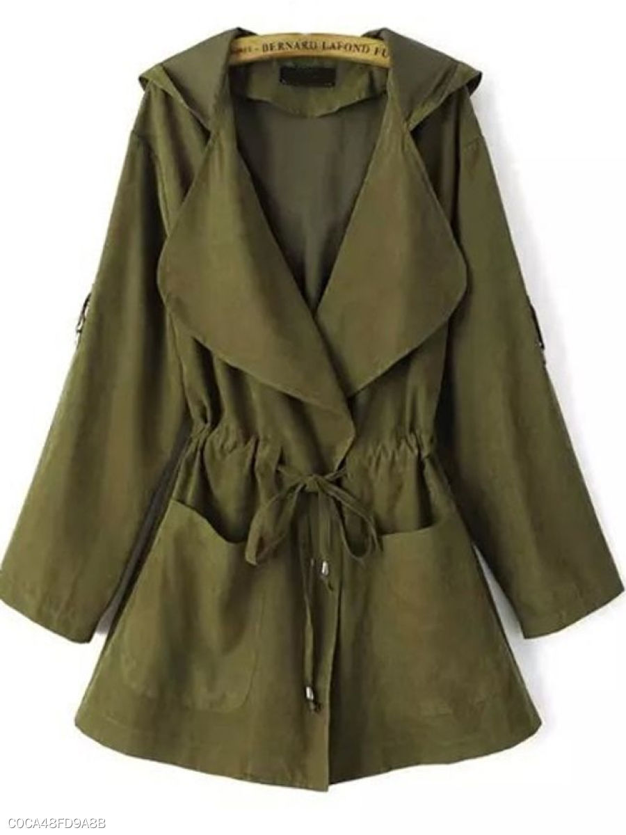 Concise Hooded With Pockets  Trench-Coats
