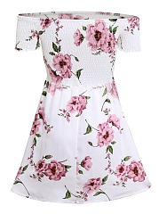 Off Shoulder Smocked Bodice Floral Printed Mini Skater Dress