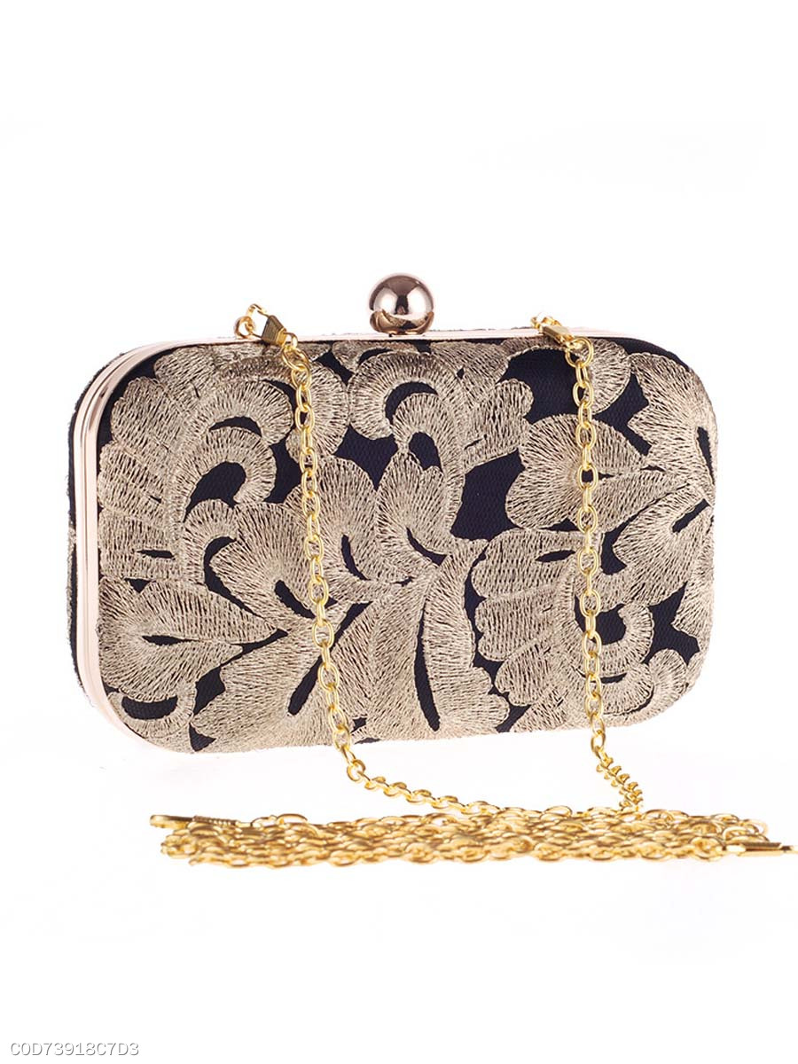 Vintage Embroidery Evening Clutch Bag
