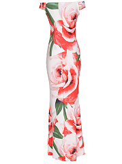 Courtly Off Shoulder Floral Printed Maxi Dress