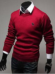 Round-Neck-Plain-Embroidery-Men-Sweater