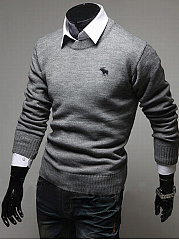 Round Neck Plain Embroidery Men Sweater