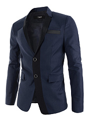 Narrow Notch Lapel Vented Men Blazer