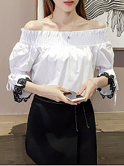 Spring Summer  Polyester  Women  Off Shoulder  Patchwork  Striped  Three-Quarter Sleeve Blouses