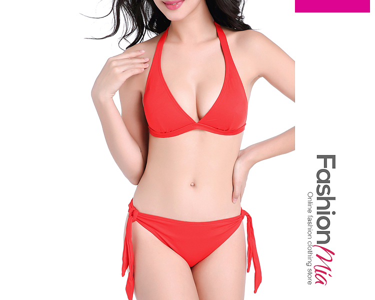 material:spandex*nylon, collar&neckline:halter, sleeve:sleeveless, pattern_type:plain, occasion:beach, season:summer, package_included:bikini, how_to_wash:cold  hand wash,cold gentle machine wash, supplementary_matters:accessory is excluded.,all dimensions are measured manually with a deviation of 2 to 4cm., gender:women, hooded:no, thickness:thin, brand_name:fashionmia, style:fashion*elegant, bust:101.7-106.8,waist:81.3-86.4,hip:106.5-111.6,