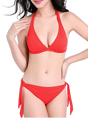 Absorbing Halter Solid Bikini In Red