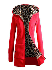 Patch Pocket  Decorative Button  Leopard Hoodie