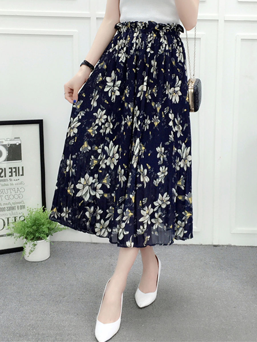 Charming Elastic Waist Floral Chiffon Pleated Maxi Skirt