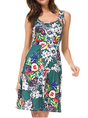 Round Neck Floral Printed Sleeveless Casual Skater Dress