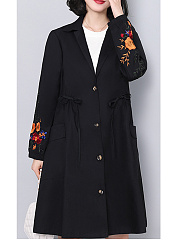 Lapel  Embroidery  Long Sleeve Trench Coats