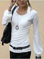 Autumn Spring  Cotton  Women  Halter  Plain Long Sleeve T-Shirts