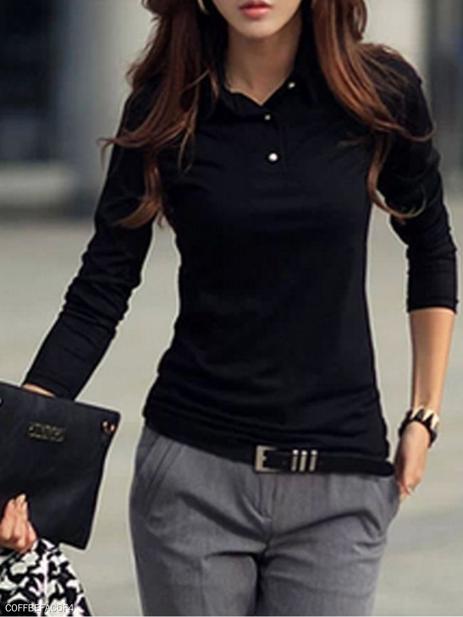 Korean Style Polo Collar  Pure Long-Sleeve-T-Shirt