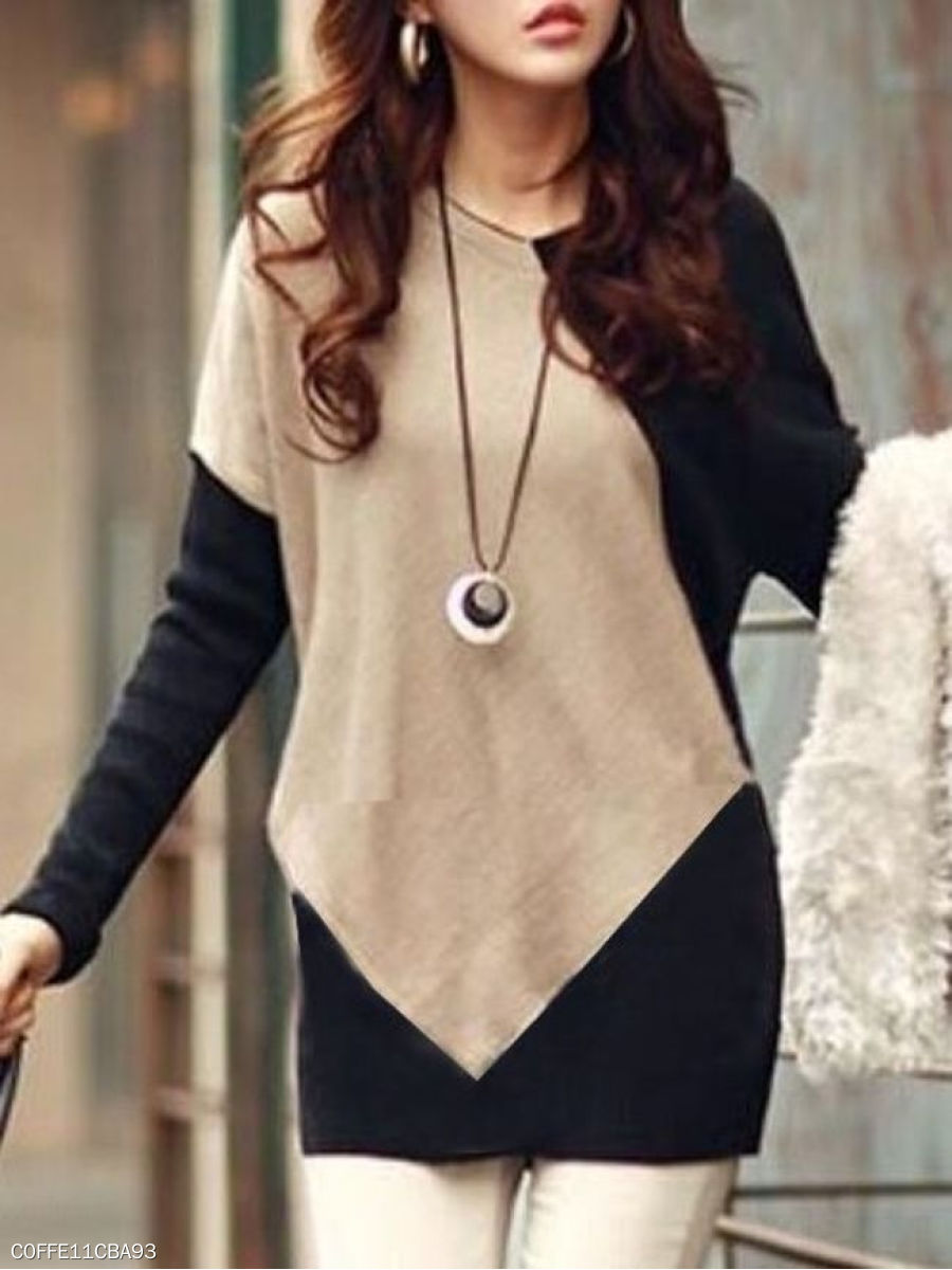 Autumn Spring  Cotton  Women  Round Neck  Color Block Long Sleeve T-Shirts
