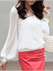 Autumn Spring  Chiffon  Women  Round Neck  Plain  Puff Sleeve  Long Sleeve Blouses
